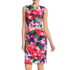 CALVIN KLEIN Floral Watercolor Print Scuba Dress